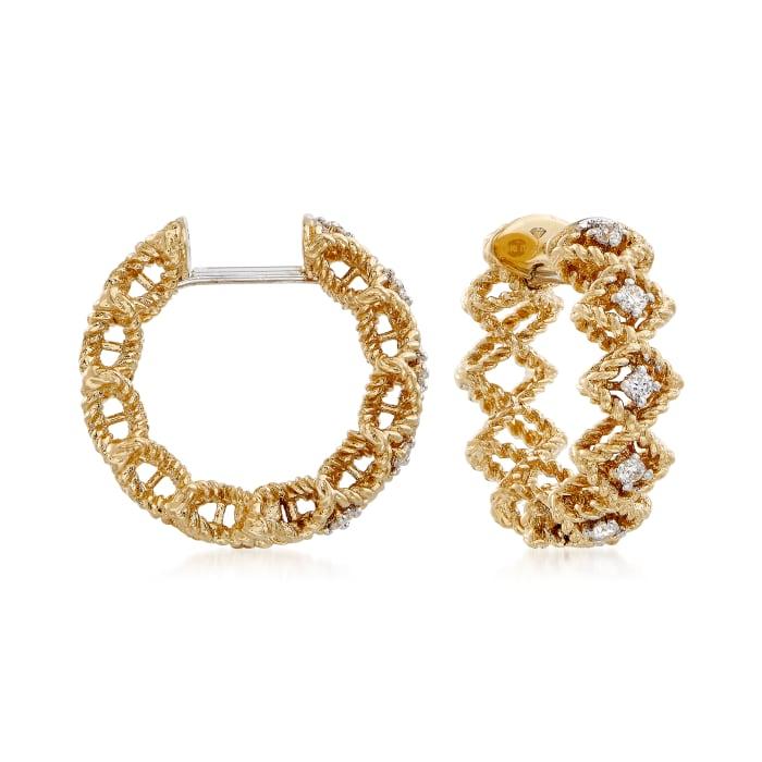 "Roberto Coin ""Barocco"" Diamond Hoop Earrings in 18kt Yellow Gold"