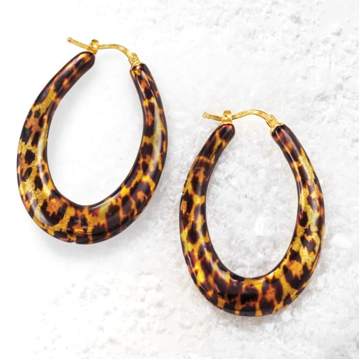 Italian Leopard-Print Enamel Hoop Earrings in 18kt Gold Over Sterling