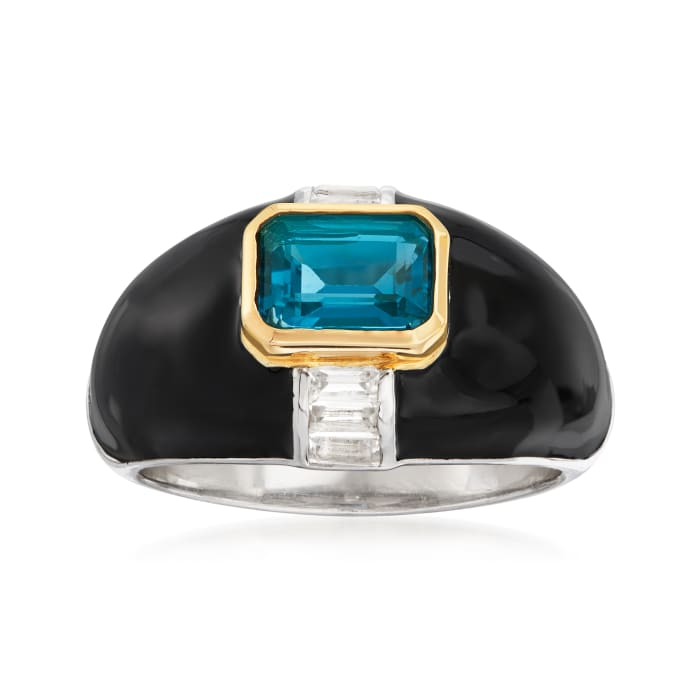 1.10 Carat London Blue Topaz and .40 ct. t.w. White Topaz Ring with Black Enamel in Sterling Silver and 14kt Yellow Gold