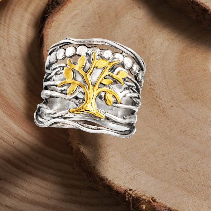 Sterling Silver and 14kt Yellow Gold Multi-Row Tree of Life Ring