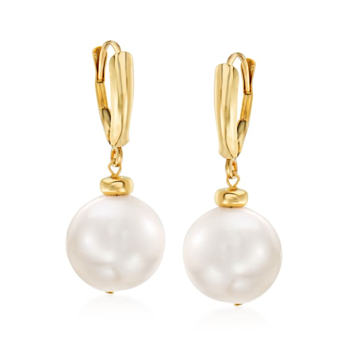 11.5-12.5mm Cultured Pearl Drop Earrings in 14kt Yellow Gold
