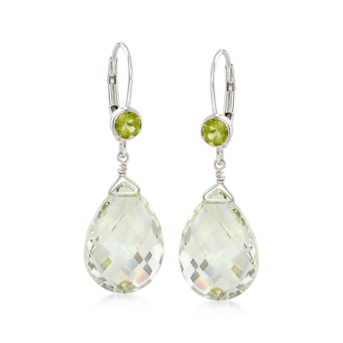 14.00 ct. t.w. Prasiolite and .80 ct. t.w. Peridot Drop Earrings in Sterling Silver