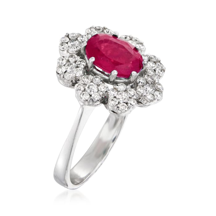 2.20 Carat Ruby and .84 ct. t.w. Diamond Flower Ring in 18kt White Gold