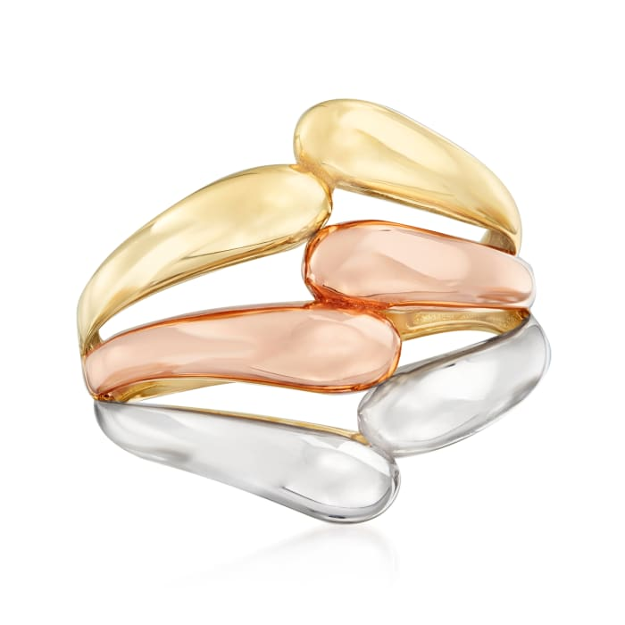 14kt Tri-Colored Gold Openwork Ring