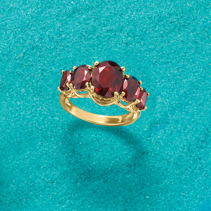 4.50 ct. t.w. Garnet Five-Stone Ring in 18kt Gold Over Sterling