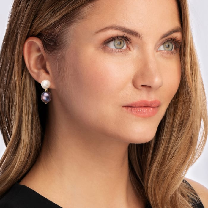 10-11.5mm Black and White Pearl Drop Earrings with 14kt Yellow Gold