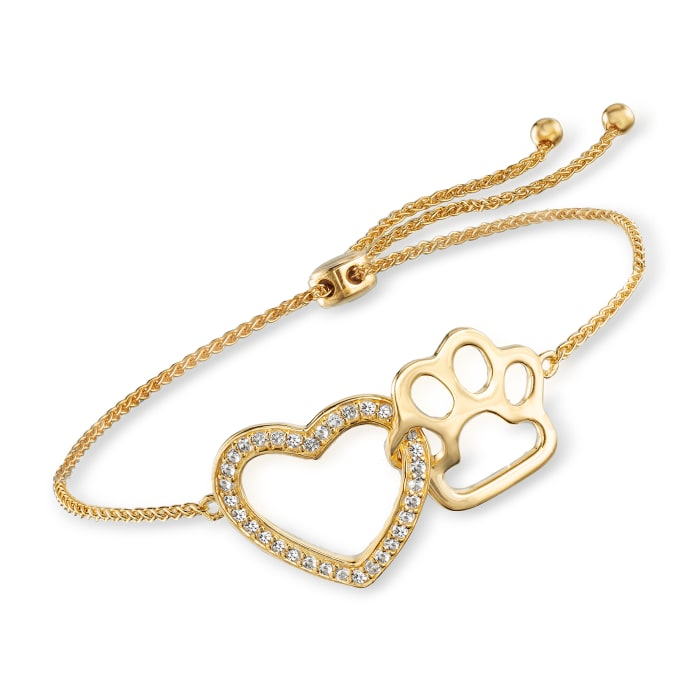 .20 ct. t.w. White Topaz Heart and Paw Bolo Bracelet in 18kt Gold Over Sterling