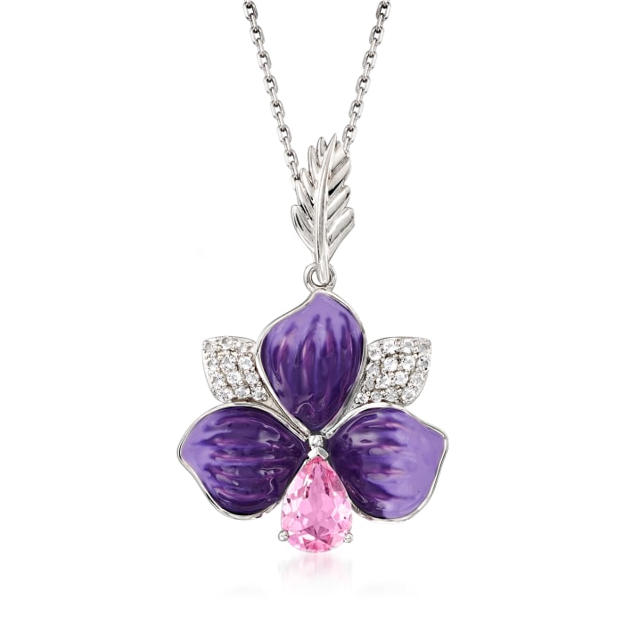 1.50 ct. t.w. Pink and White Topaz Flower Pendant Necklace with Purple Enamel in Sterling Silver