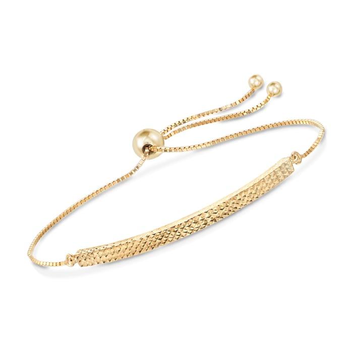 14kt Yellow Gold Diamond-Cut Bolo Bracelet