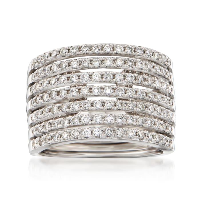 1.10 ct. t.w. Diamond Multi-Row Ring in 14kt White Gold