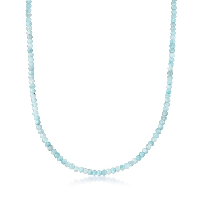 45.00 ct. t.w. Aquamarine Bead Necklace in 14kt Yellow Gold with Magnetic Clasp