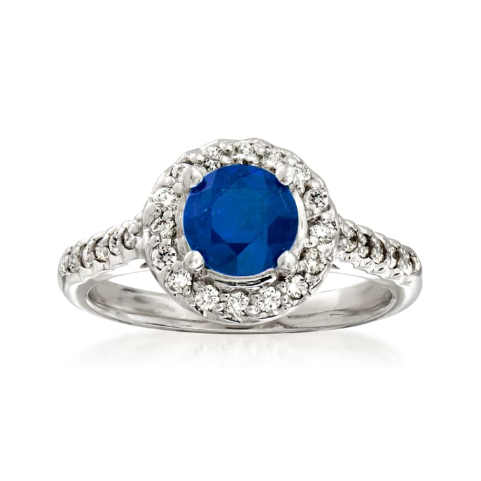 1.40 Carat Sapphire and .33 ct. t.w. Diamond Halo Ring in 14kt White Gold