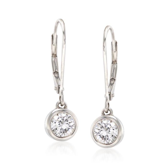 1.00 ct. t.w. Bezel-Set Diamond Drop Earrings in 14kt White Gold