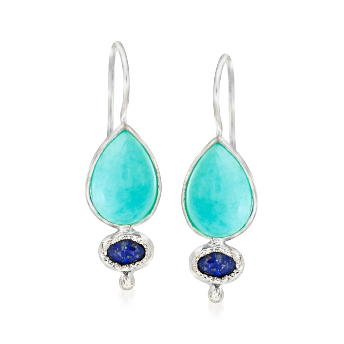 Amazonite and Lapis Drop Earrings in Sterling Silver