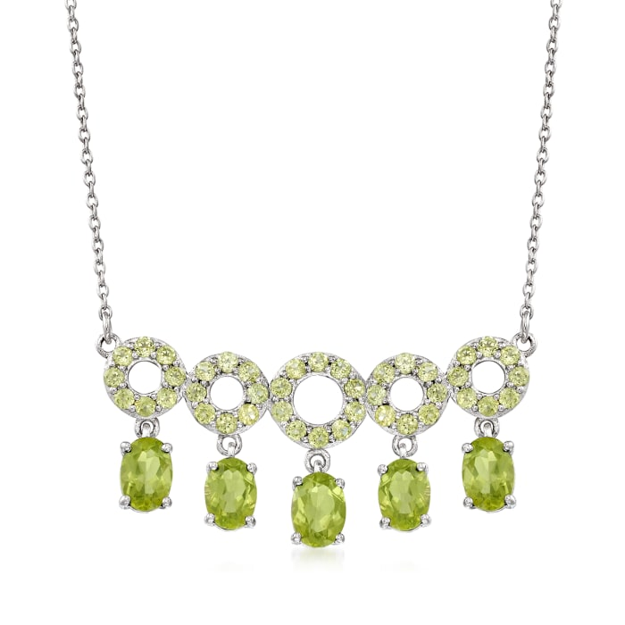 5.70 ct. t.w. Peridot Open-Circle Drop Necklace in Sterling Silver