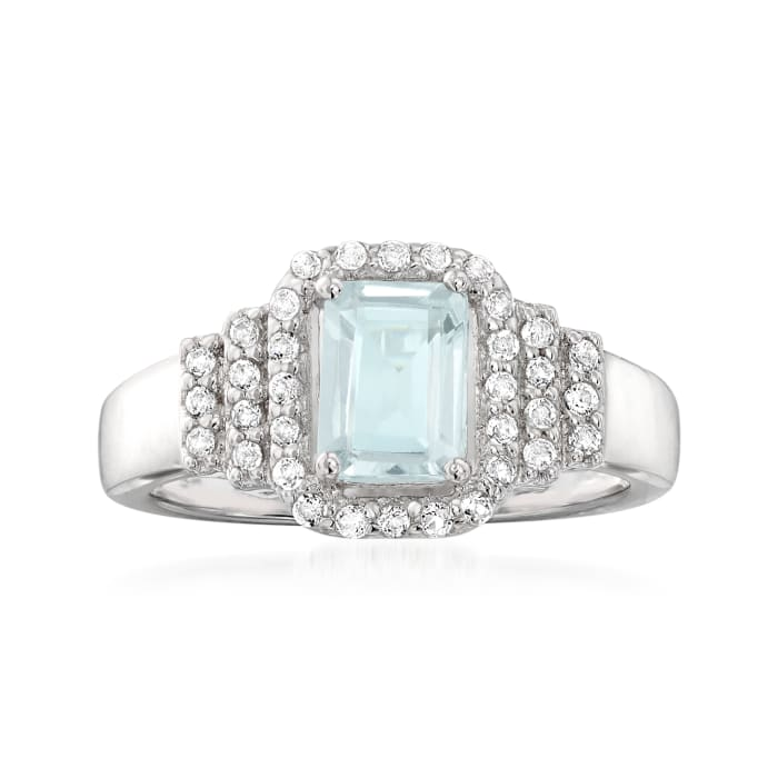 .90 Carat Aquamarine and .30 ct. t.w. White Topaz Ring in Sterling Silver