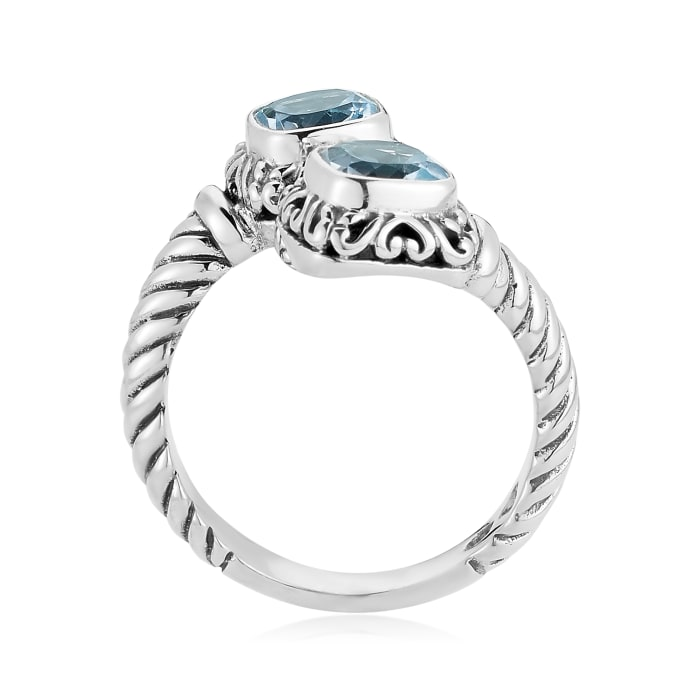 2.40 ct. t.w. Sky Blue Topaz Rope Bypass Ring in Sterling Silver