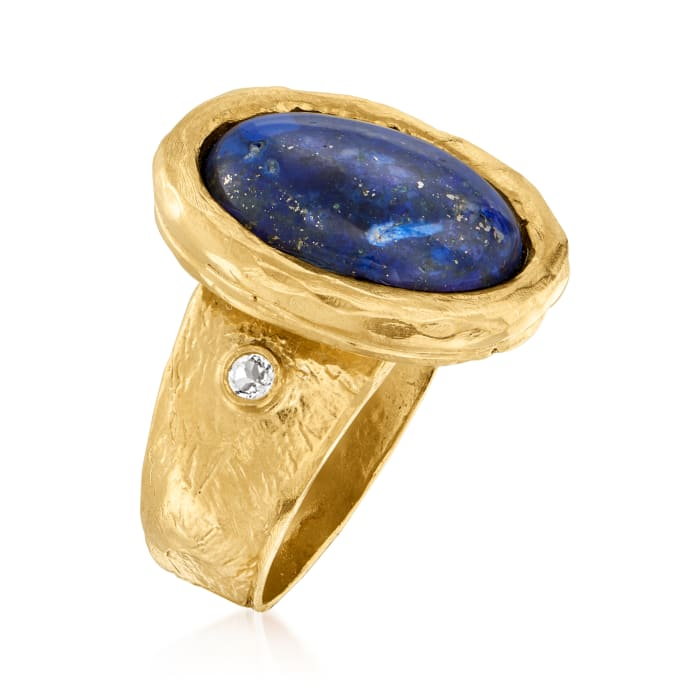 Lapis and .15 ct. t.w. White Topaz Ring in 18kt Gold Over Sterling