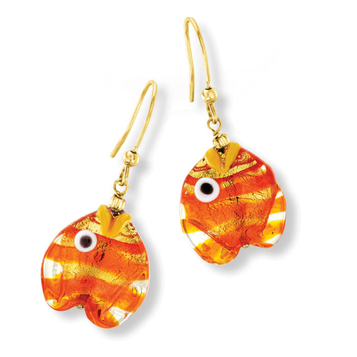 Italian Multicolored Murano Glass Fish Drop Earrings with 18kt Gold Over Sterling