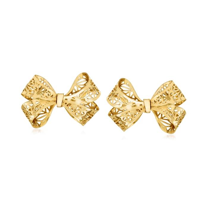 Italian 14kt Yellow Gold Filigree Bow Earrings