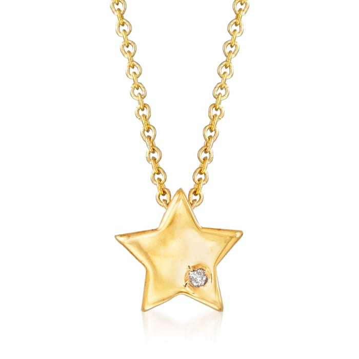 Italian 14kt Yellow Gold Star Necklace with Diamond Accent