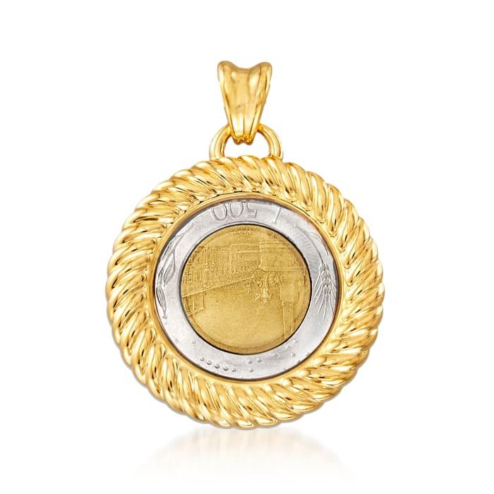 Italian Andiamo 14kt Yellow Gold Over Resin Genuine 500-Lira Coin Pendant