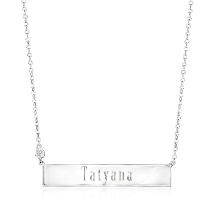 Sterling Silver Name Bar Necklace with Diamond Accent