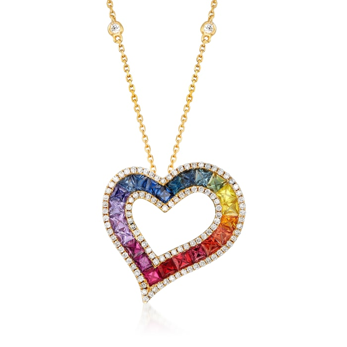 3.00 ct. t.w. Multicolored Sapphire and .55 ct. t.w. Diamond Heart Necklace in 14kt Yellow Gold