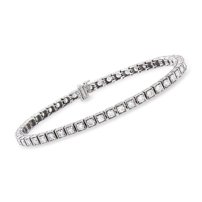 C. 1990 Vintage 3.80 ct. t.w. Diamond Tennis Bracelet in 14kt White Gold
