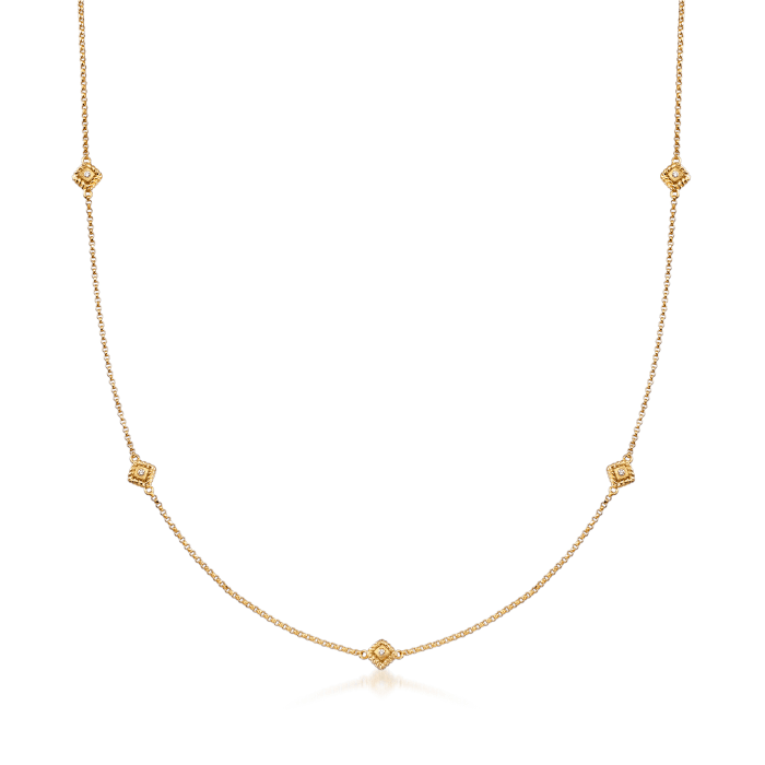 "Roberto Coin ""Palazzo Ducale"" Station Necklace with Diamond Accents in 18kt Yellow Gold"