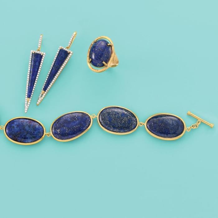 Free-Form Blue Lapis Link Bracelet in 14kt Gold Over Sterling