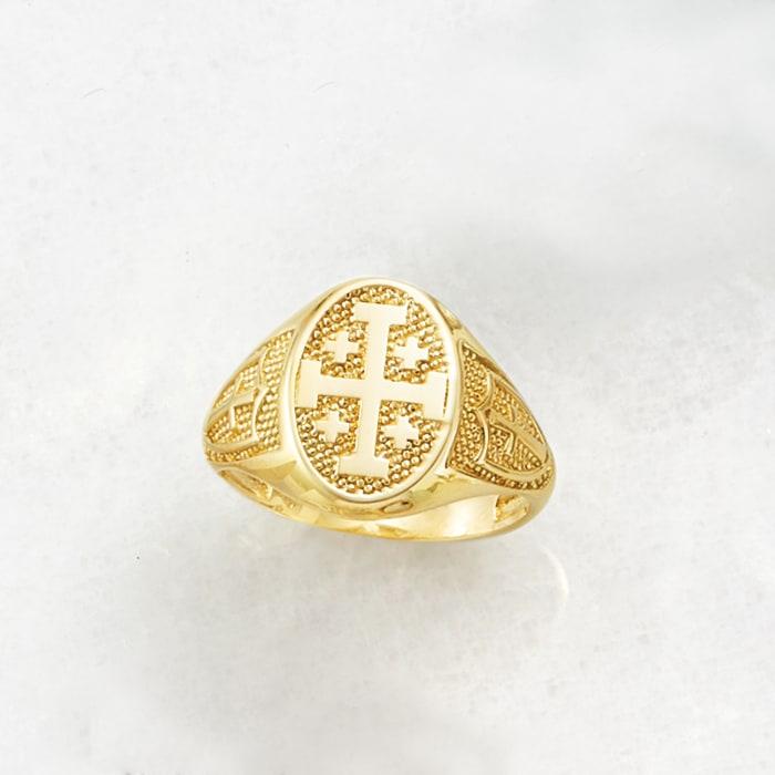 14kt Yellow Gold Multi-Cross Signet Ring