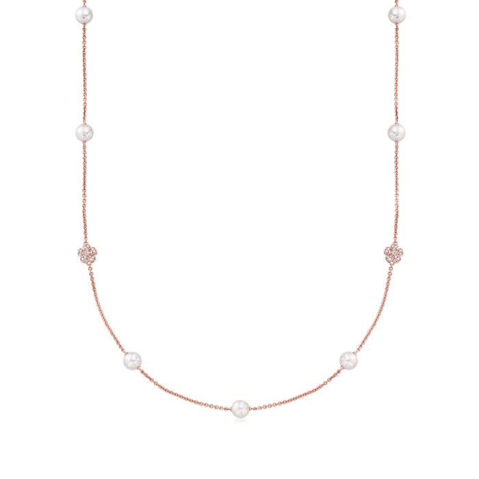 """Mikimoto """"Cherry Blossom"""" 7mm A+ Akoya Pearl and .46 ct. t.w. Diamond Necklace in 18kt Rose Gold"""