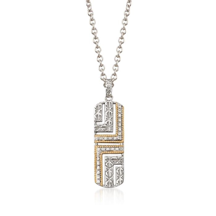 """Andrea Candela """"Laberinto"""" .14 ct. t.w. Diamond Drop Necklace in 18kt Gold and Sterling Silver"""