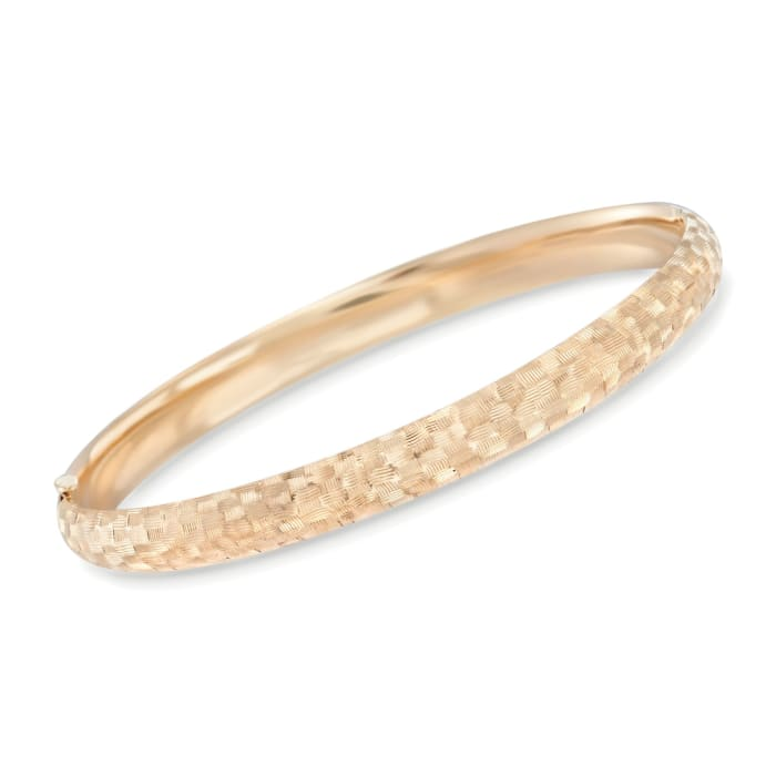 14kt Yellow Gold Textured Checkerboard Bangle Bracelet