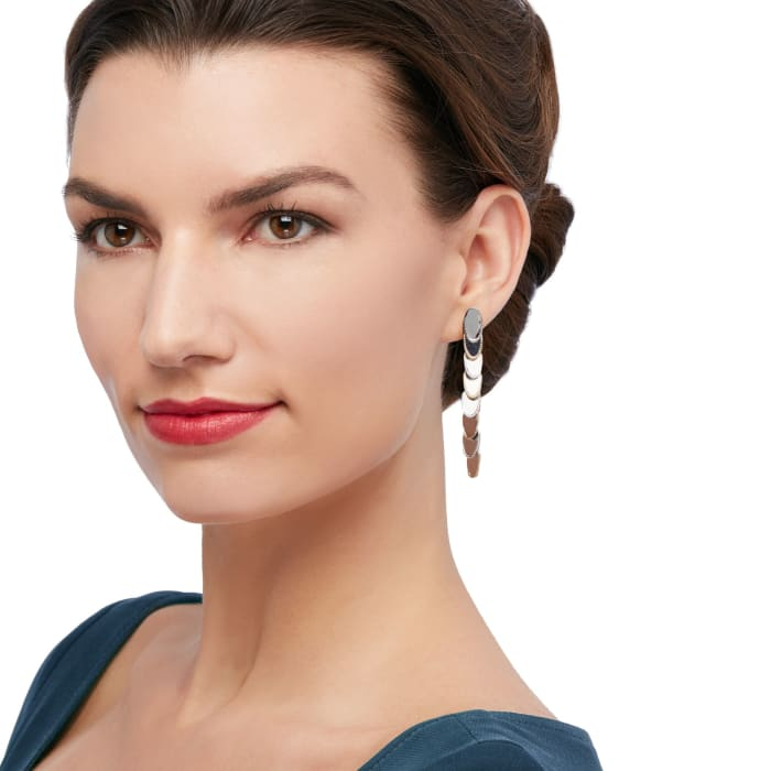 """Andrea Candela """"Eco"""" 18kt Yellow Gold and Sterling Silver Linear Drop Earrings"""
