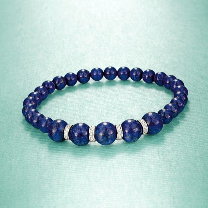 6-8mm Lapis Bead Stretch Bracelet with .24 ct. t.w. Diamonds in Sterling Silver