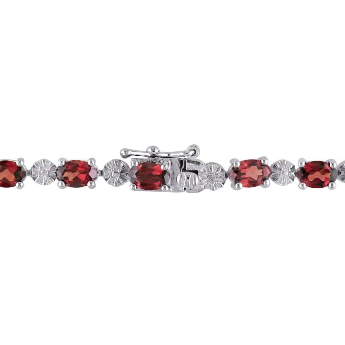 9.75 ct. t.w. Garnet Tennis Bracelet with Diamond Accents in Sterling Silver