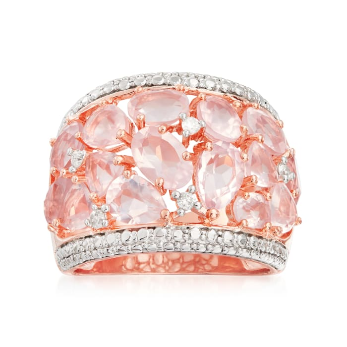 5.95 ct. t.w. Rose Quartz Dome Ring with Diamonds in Rose Sterling Silver