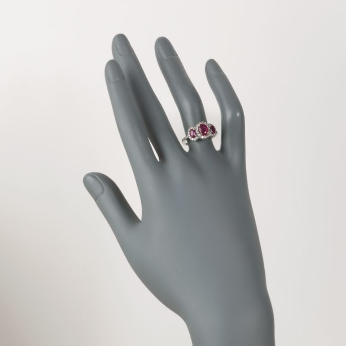1.65 ct. t.w. Ruby and .50 ct. t.w. Diamond Ring in 14kt White Gold