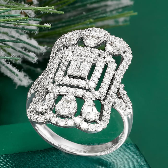 1.50 ct. t.w. Diamond Openwork Ring in 14kt White Gold