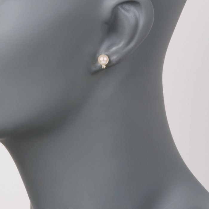 6-6.5mm Cultured Akoya Pearl and Diamond Accent Earrings in 14kt Yellow Gold