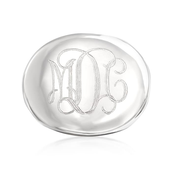Italian Sterling Silver Oval Monogram Ring