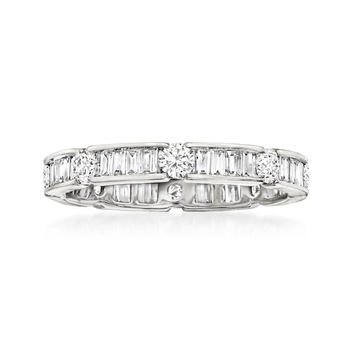 1.00 ct. t.w. Round and Baguette Diamond Eternity Band in 14kt White Gold