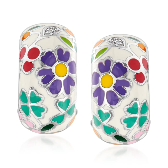 """Belle Etoile """"Flower Garden"""" Enamel Drop Earrings in Sterling Silver"""