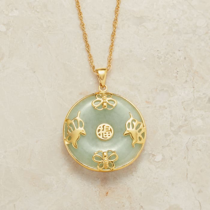 """Jade """"Good Fortune"""" Butterfly Pendant Necklace in 18kt Gold Over Sterling"""