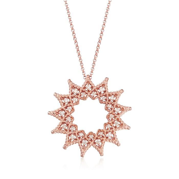 "Roberto Coin ""Roman Barocco"" .22 ct. t.w. Diamond Open Sun Necklace in 18kt Rose Gold"