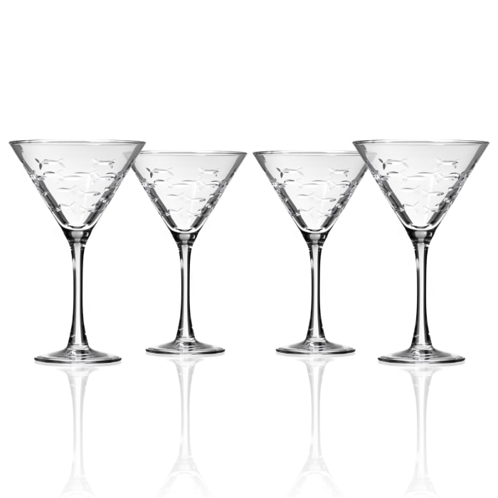 "Rolf Glass ""School of Fish"" Set of 4 Martini Glasses"