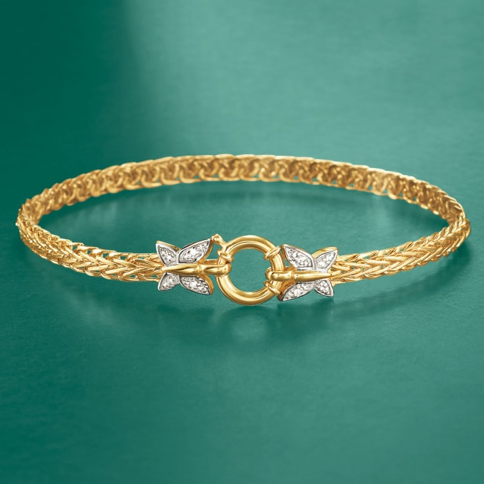 14kt Yellow Gold Butterfly Wheat Link Bracelet with Diamond Accents