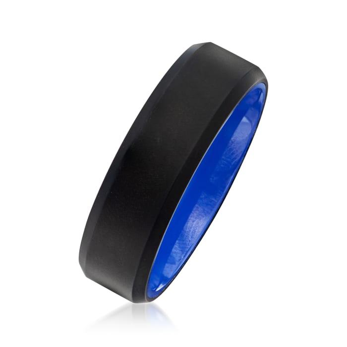 Men's 7mm Black Matte Tungsten Carbide Wedding Ring with Blue Ceramic